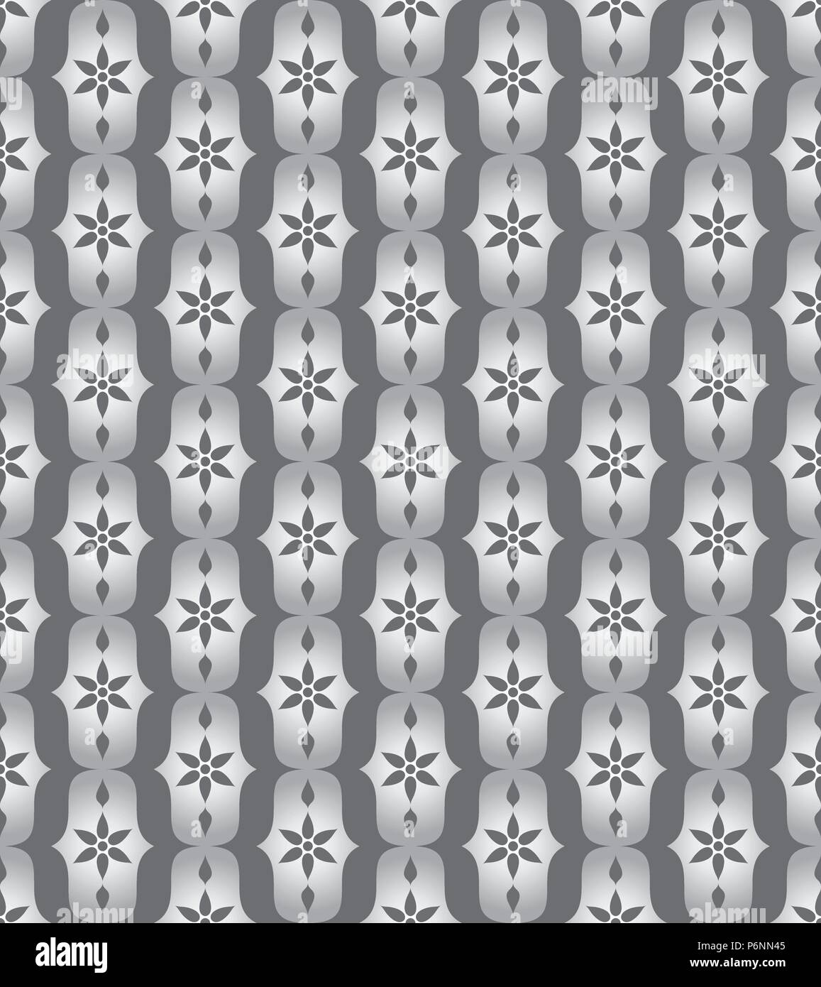 Silver vintage blossom and lobe pattern on pastel background. Retro bloom seamless pattern for ancient or old design - Stock Vector