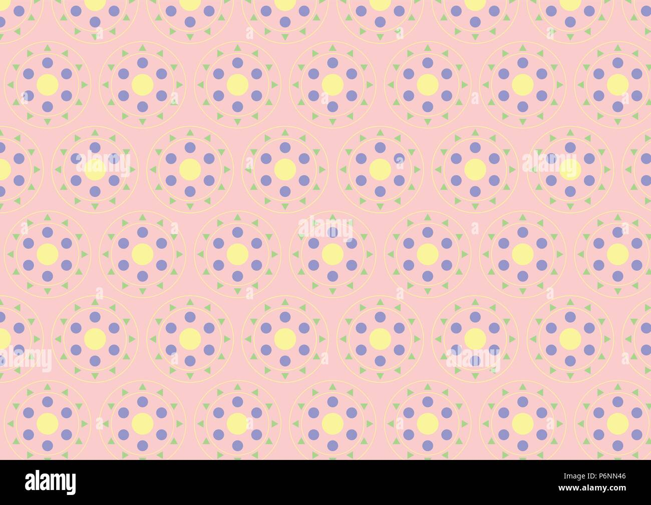 Circle button pattern consist of green triangle, blue and