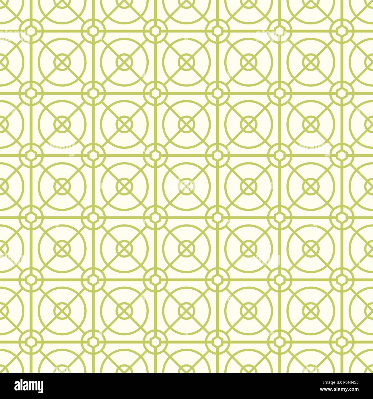 Green Abstract circle and square and hexagon seamless pattern on pastel background. Modern line and circle pattern for graphic design. - Stock Vector