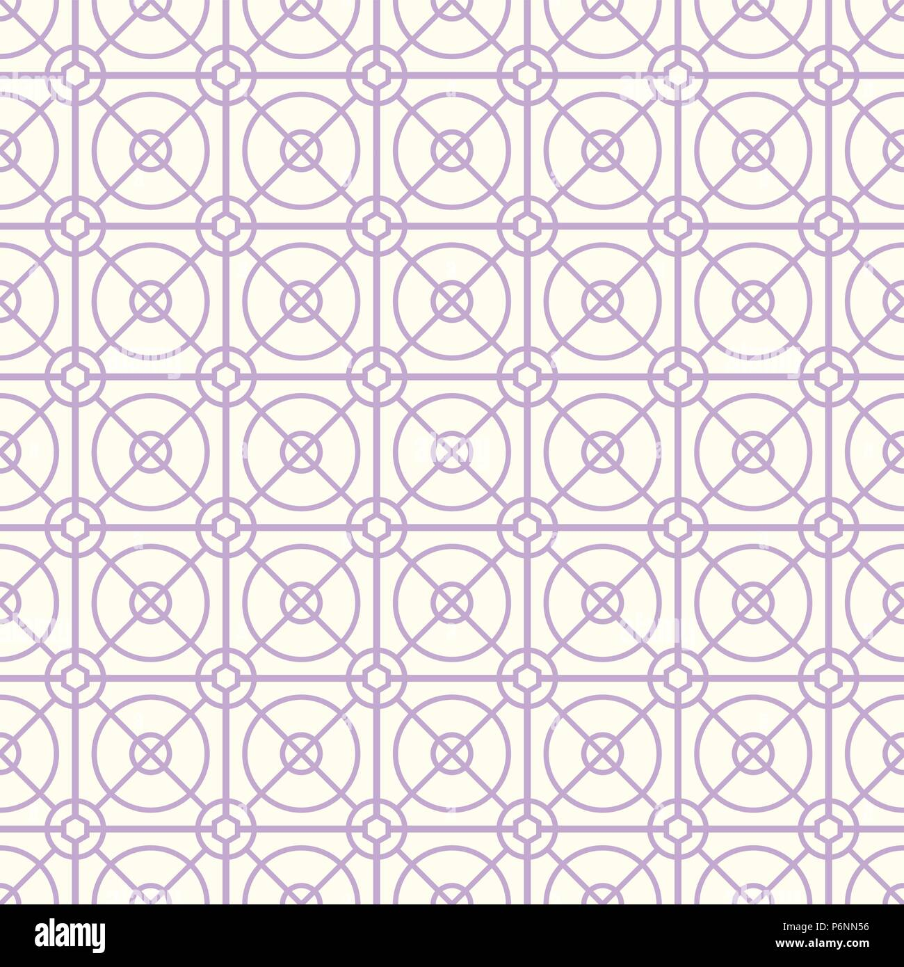 Violet Abstract circle and square and hexagon seamless pattern on pastel background. Modern line and circle pattern for graphic design. - Stock Vector