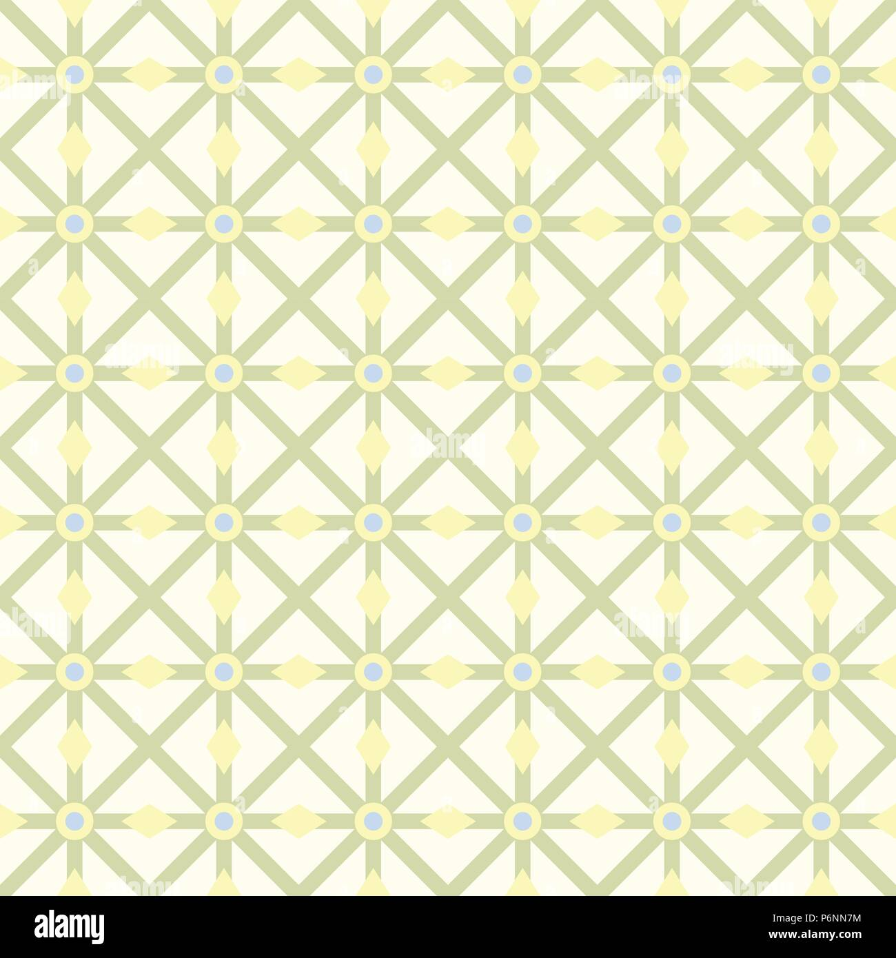 Green asterisk or crossed line and circle and triangle seamless pattern. Abstract and classic pattern style for design - Stock Vector