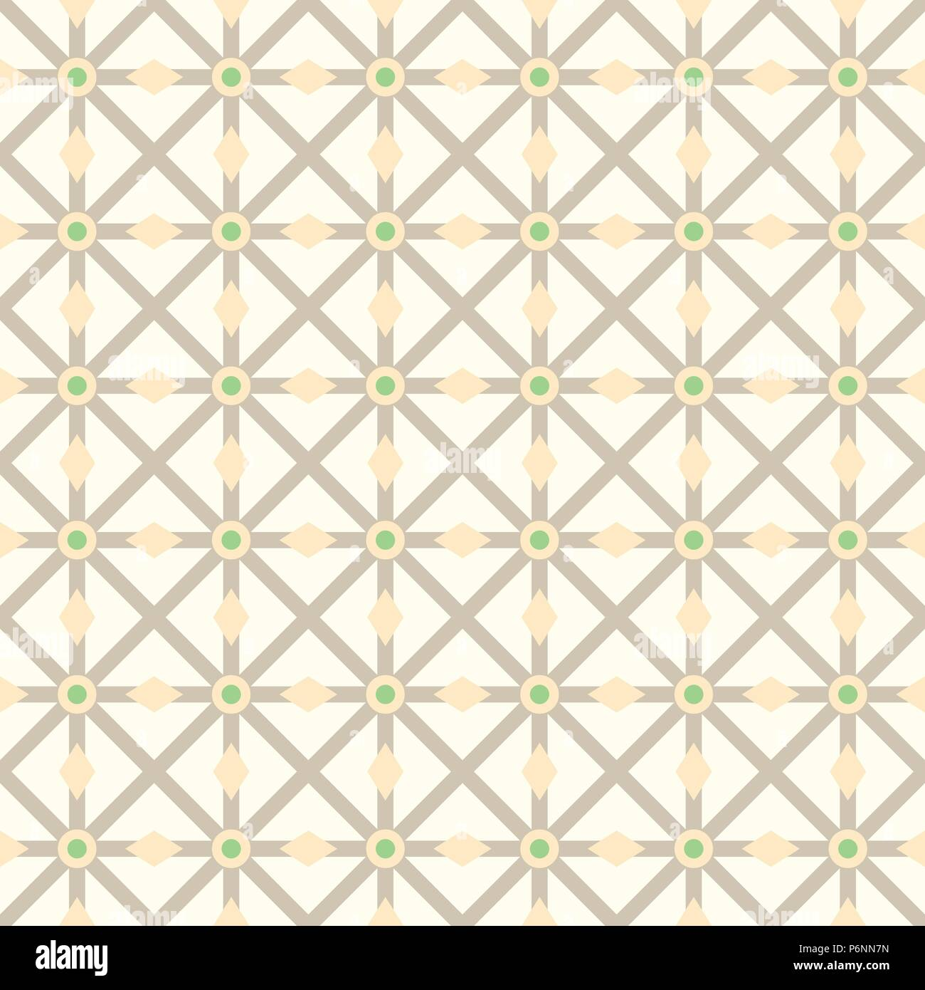 Brown asterisk or crossed line and circle and triangle seamless pattern. Abstract and classic pattern style for design - Stock Vector