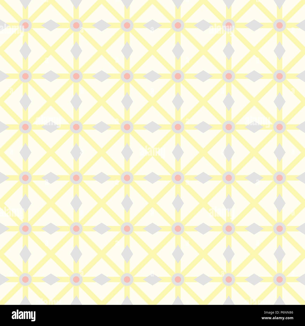 Yellow asterisk or crossed line and circle and triangle seamless pattern. Abstract and classic pattern style for design - Stock Vector