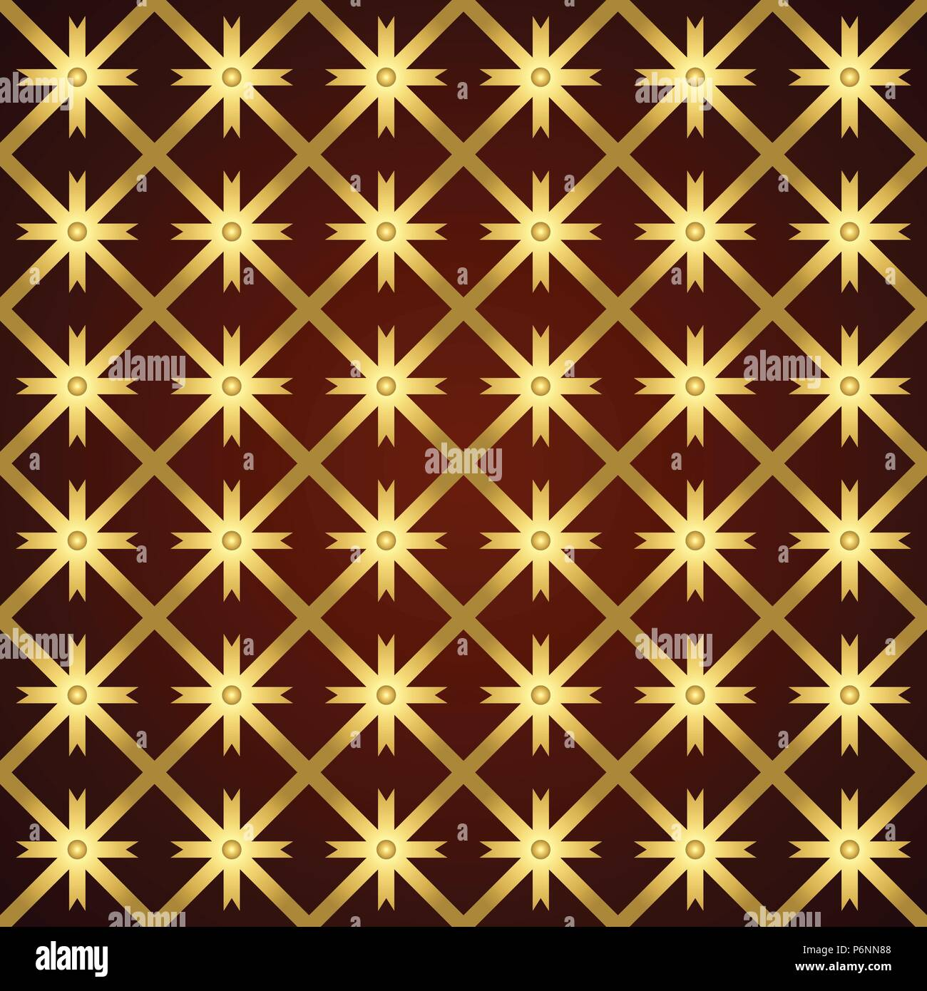 Gold asterisk or crossed line and circle and triangle seamless pattern. Abstract and classic pattern style for design - Stock Vector