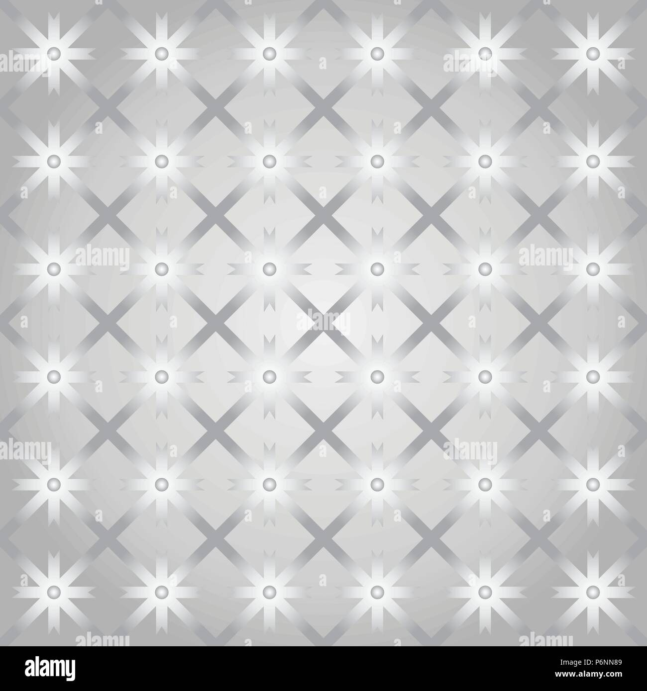 Silver asterisk or crossed line and circle and triangle seamless pattern. Abstract and classic pattern style for design - Stock Vector