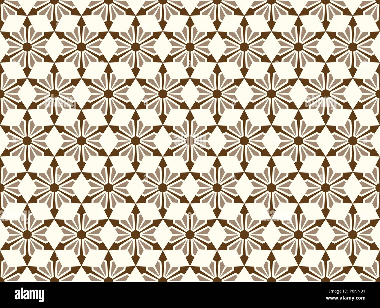 Brown modern star and circle and arrow shape seamless pattern. Fashionable flower for graphic or classic smart design - Stock Vector