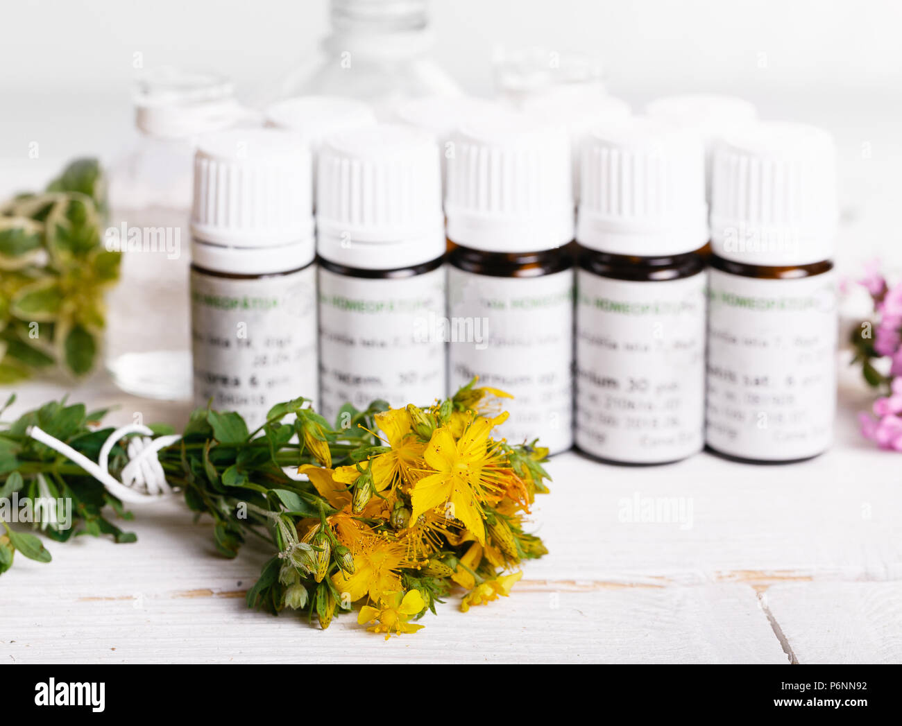 Homeopathy - A homeopathy concept with homeopathic medicine - Stock Image