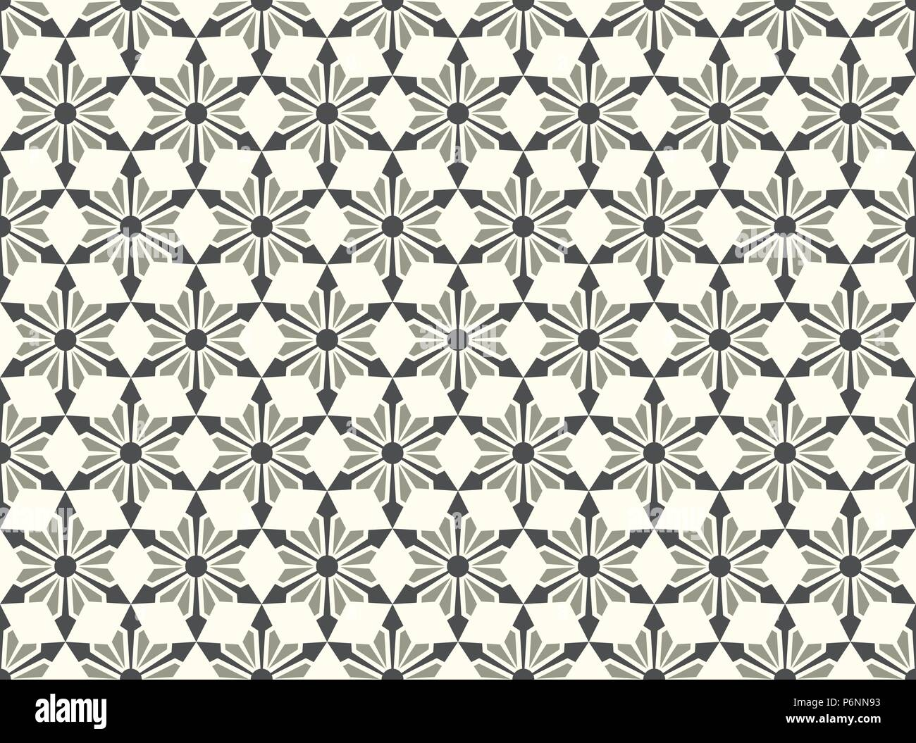Gray modern star and circle and arrow shape seamless pattern. Fashionable flower for graphic or classic smart design - Stock Vector