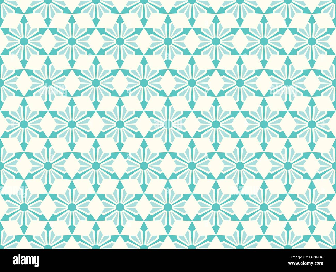 Turquoise modern star and circle and arrow shape seamless pattern. Fashionable flower for graphic or classic smart design - Stock Vector
