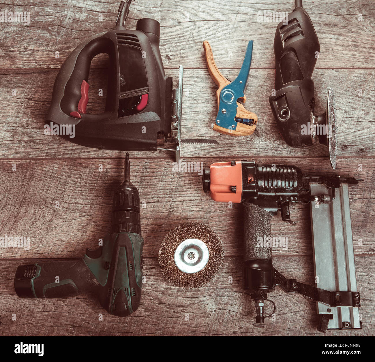Electric hand tools, screwdriver, Drill Saw jigsaw jointer. Stock Photo