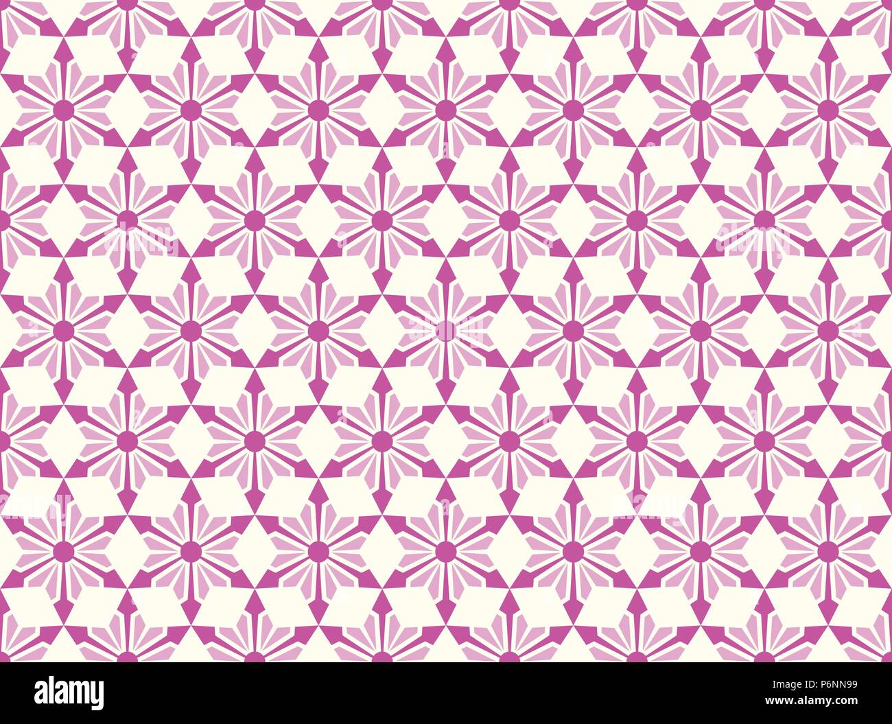 Purple modern star and circle and arrow shape seamless pattern. Fashionable flower for graphic or classic smart design - Stock Vector