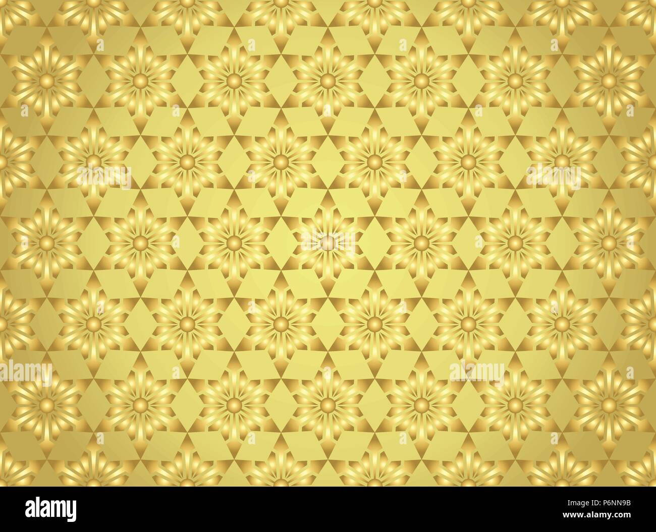 Gold modern star and circle and arrow shape seamless pattern. Fashionable flower for graphic or classic smart design - Stock Vector