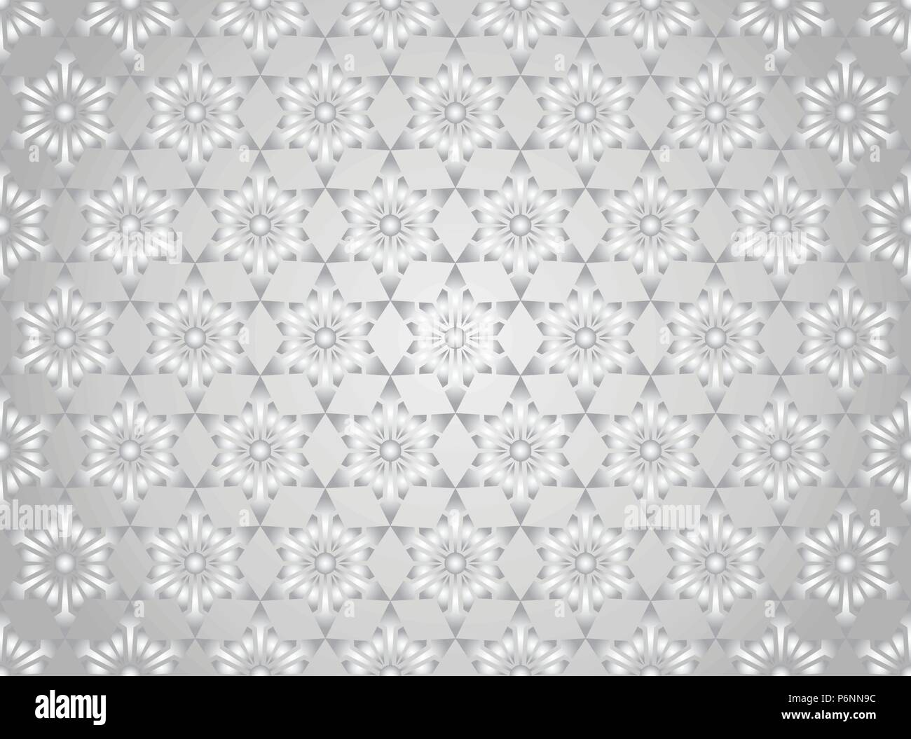 Silver modern star and circle and arrow shape seamless pattern. Fashionable flower for graphic or classic smart design - Stock Vector