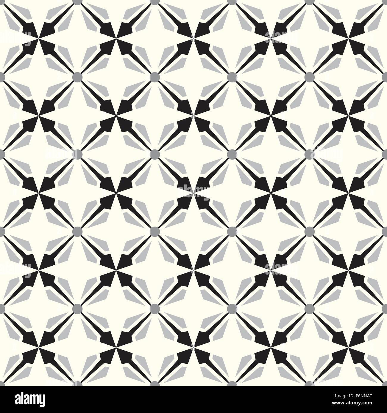 Black abstract arrow and circle in rectangle shape seamless pattern. Modern pattern for graphic or abstract design. - Stock Vector