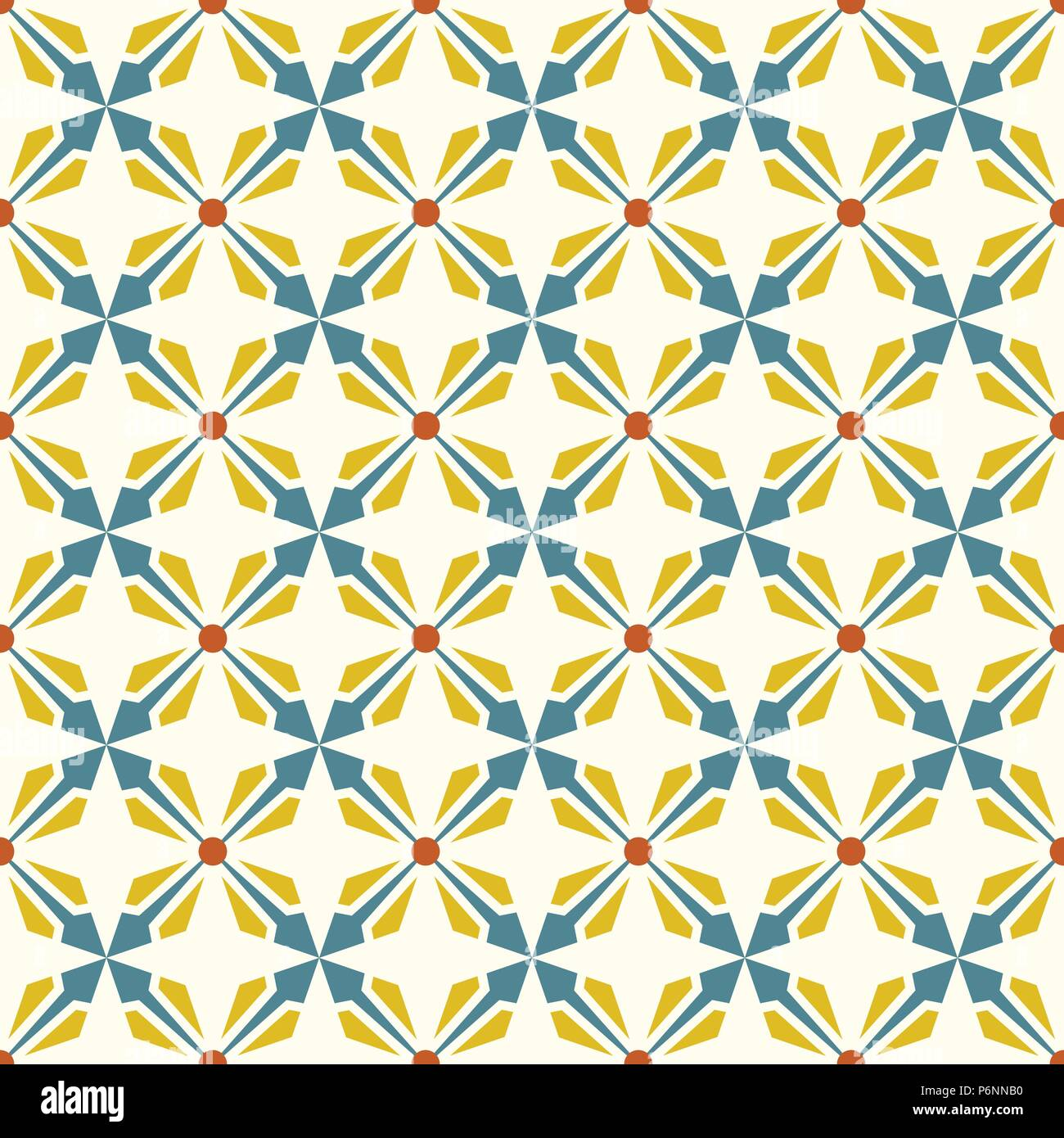 Blue and yellow abstract arrow and circle in rectangle shape seamless pattern. Modern pattern for graphic or abstract design. - Stock Vector