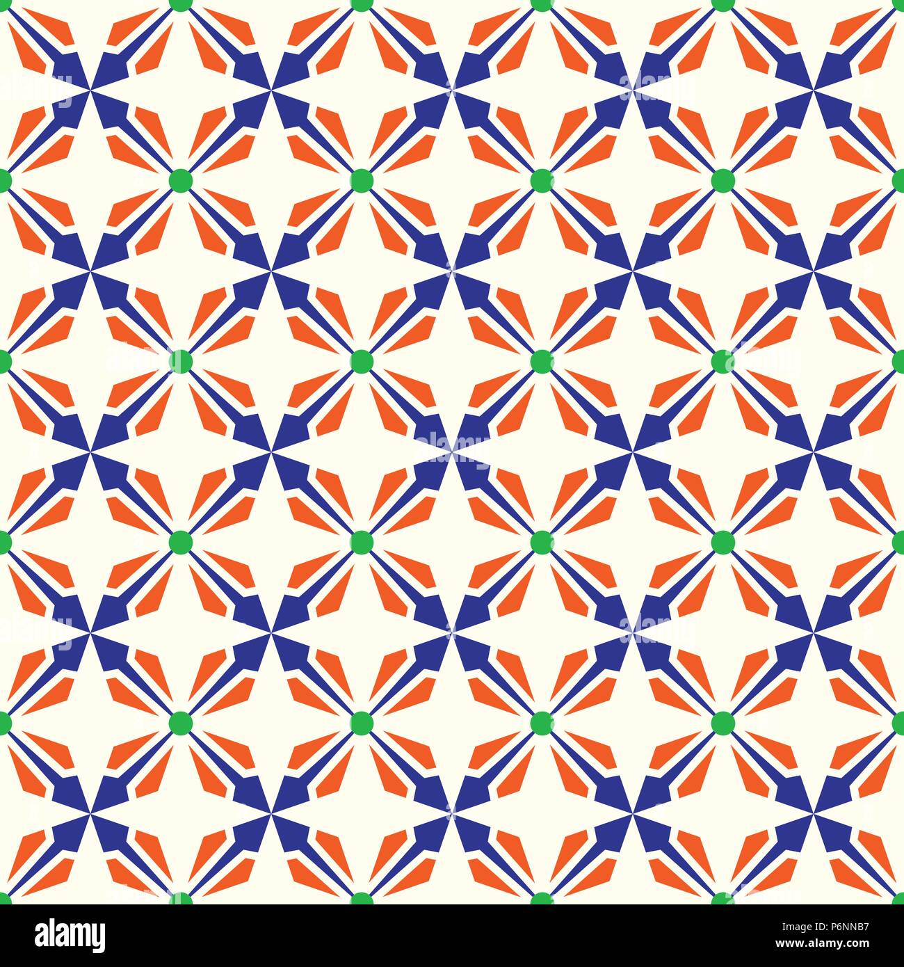 Dark blue and orange abstract arrow and circle in rectangle shape seamless pattern. Modern pattern for graphic or abstract design. - Stock Vector