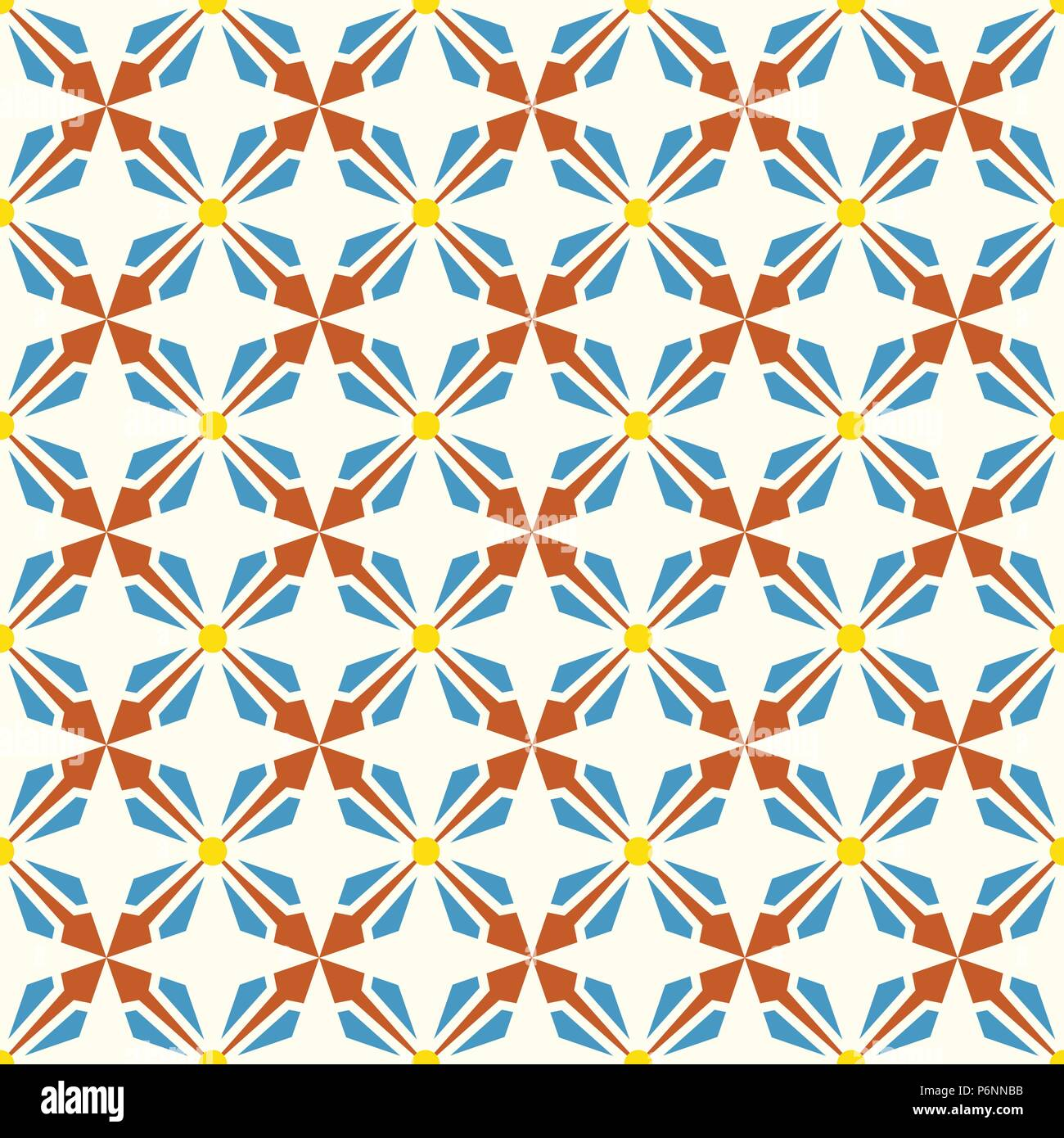 Orange and blue abstract arrow and circle in rectangle shape seamless pattern. Modern pattern for graphic or abstract design. - Stock Vector