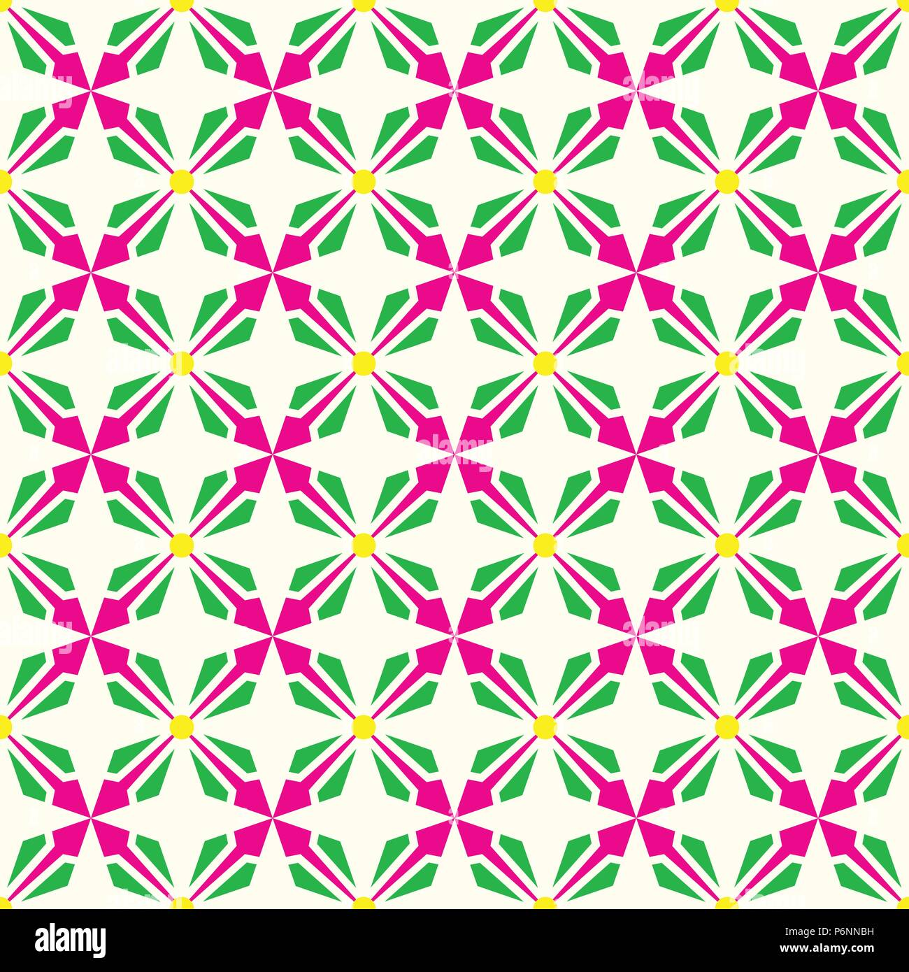 Pink and green abstract arrow and circle in rectangle shape seamless pattern. Modern pattern for graphic or abstract design. - Stock Vector