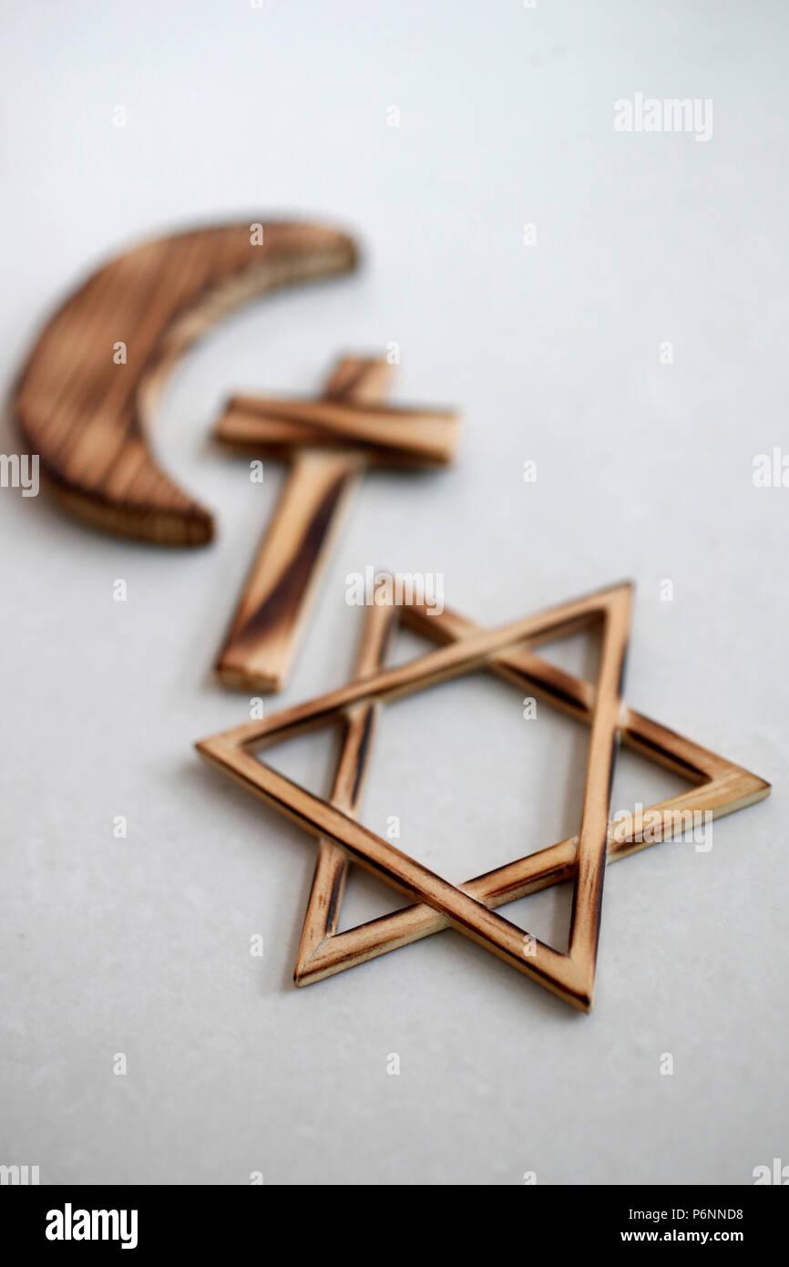 Christianity, Islam, Judaism  3  monotheistic religions. Jewish  Star, Cross and Crescent :  Interreligious symbols. - Stock Image