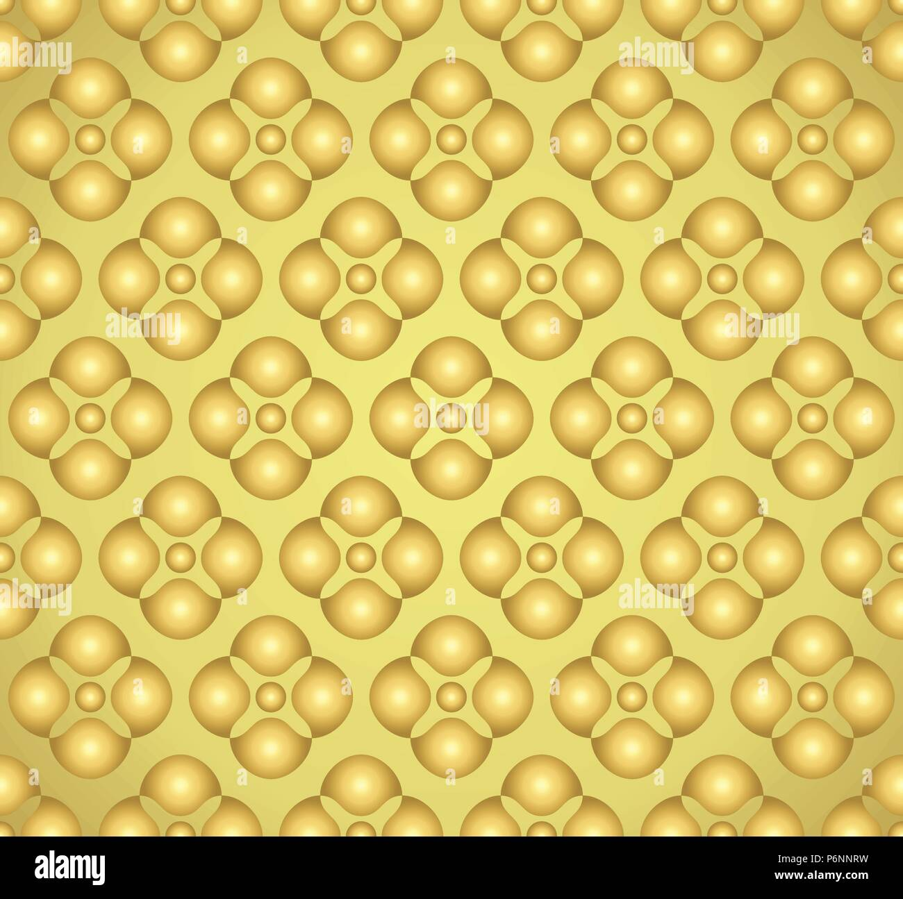 Gold Abstract blossom and small circle seamless pattern on pastel background. Vintage and sweet flower pattern for modern or graphic design. - Stock Image