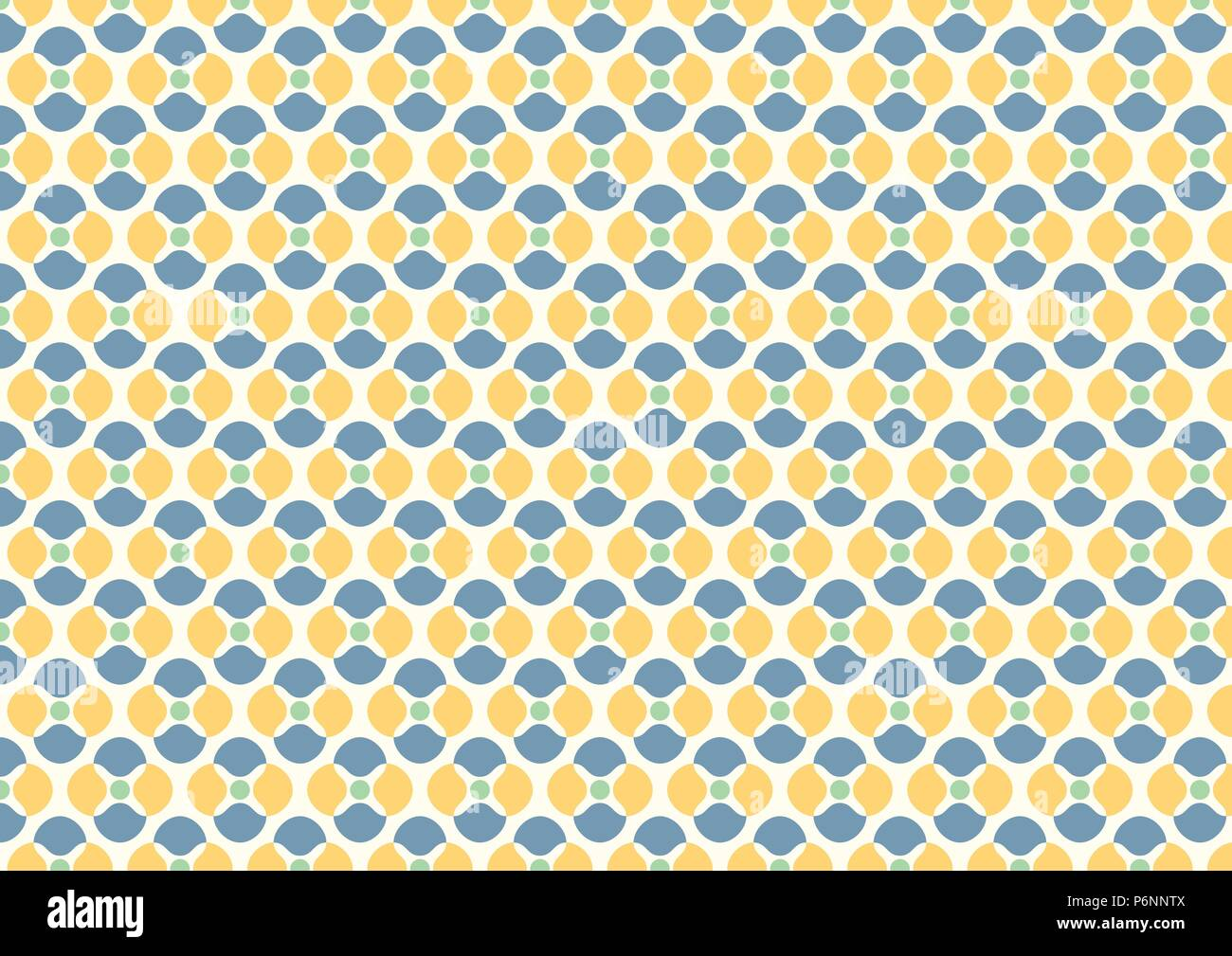 Abstract blossom and small circle seamless pattern on light yellow background. Vintage and sweet flower pattern for design. - Stock Image