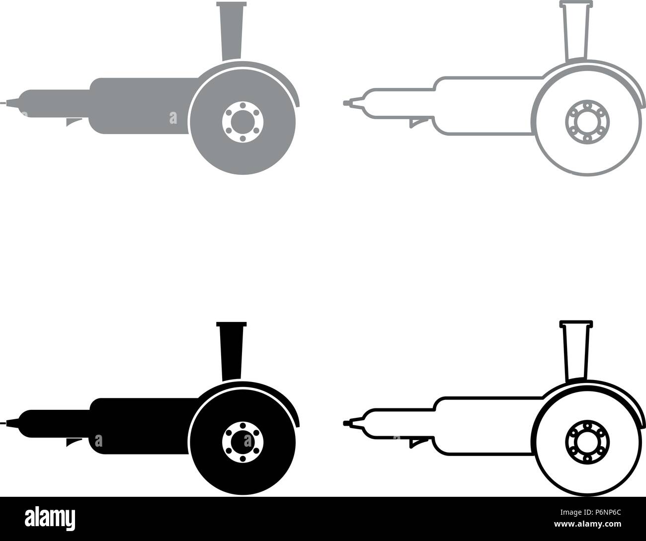 Bulgarian electric circular saw angle grinder with discs hand-held icon set grey black color I flat style simple image - Stock Vector