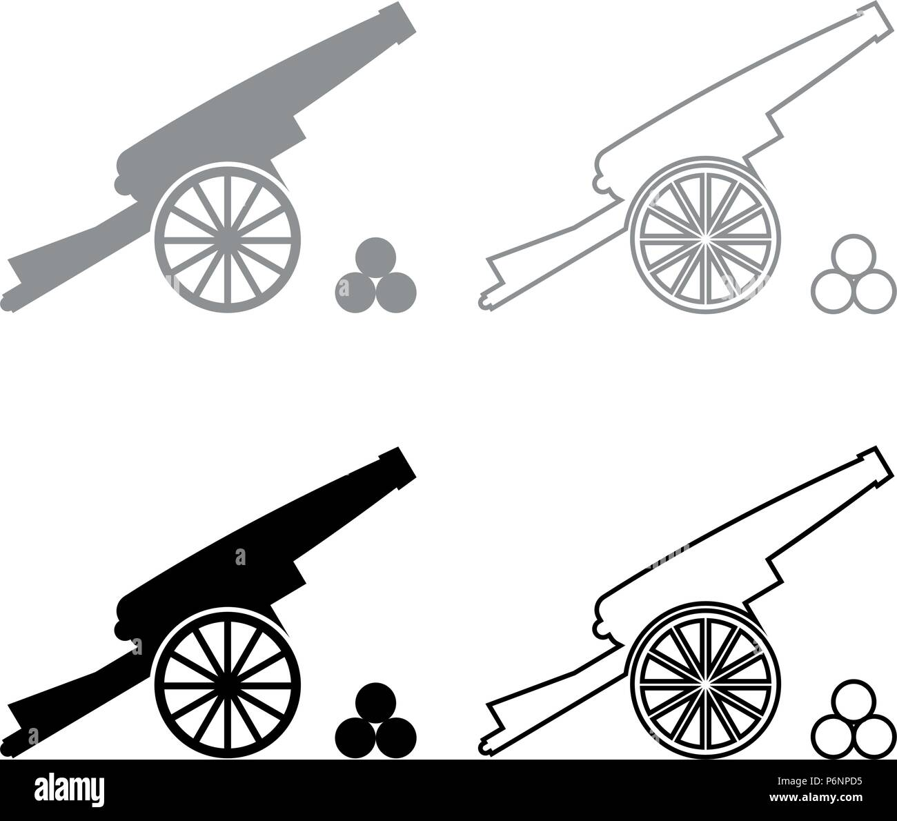 Medieval cannon firing cores icon set grey black color I flat style simple image - Stock Vector