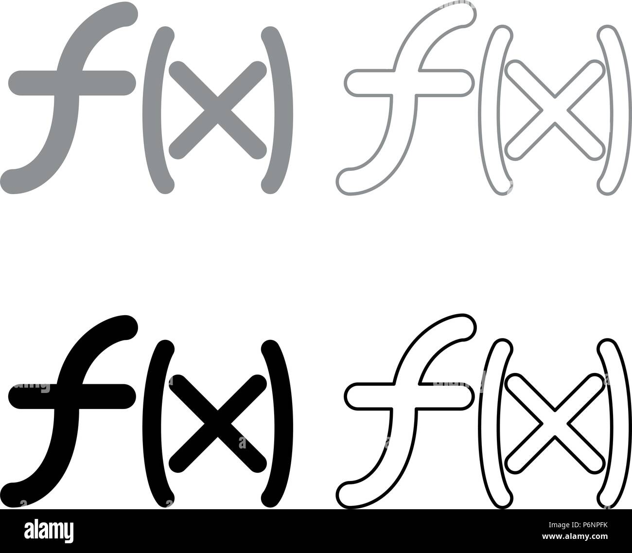 Symbol function icon set grey black color I flat style simple image - Stock Vector
