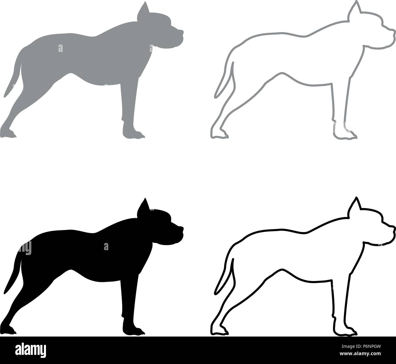 Pit bull terrier icon set grey black color I flat style simple image Stock Vector