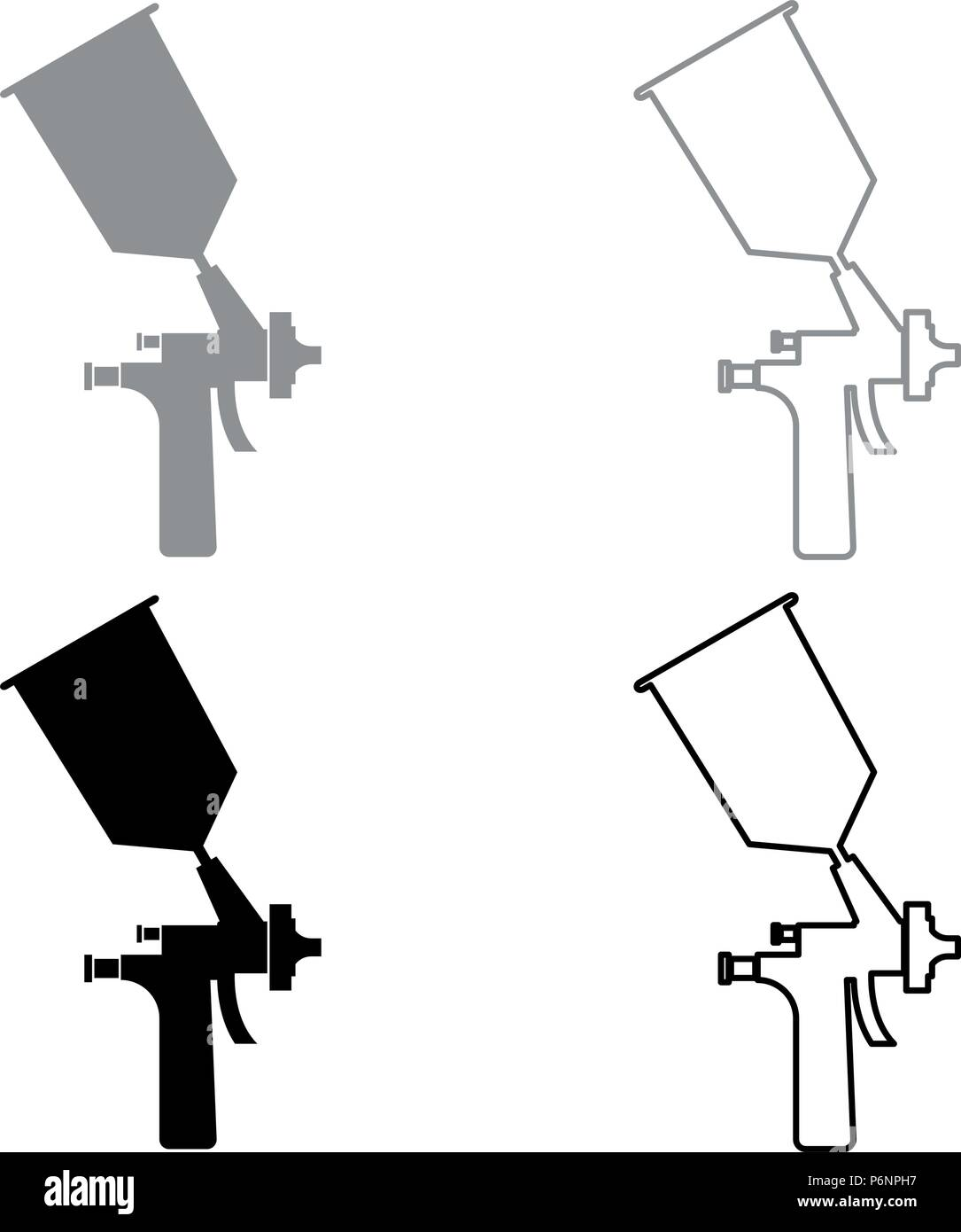 Sprayer paint icon set grey black color I flat style simple image - Stock Image