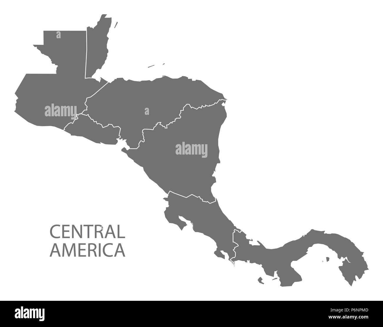 Central America map with country borders grey illustration Stock ...