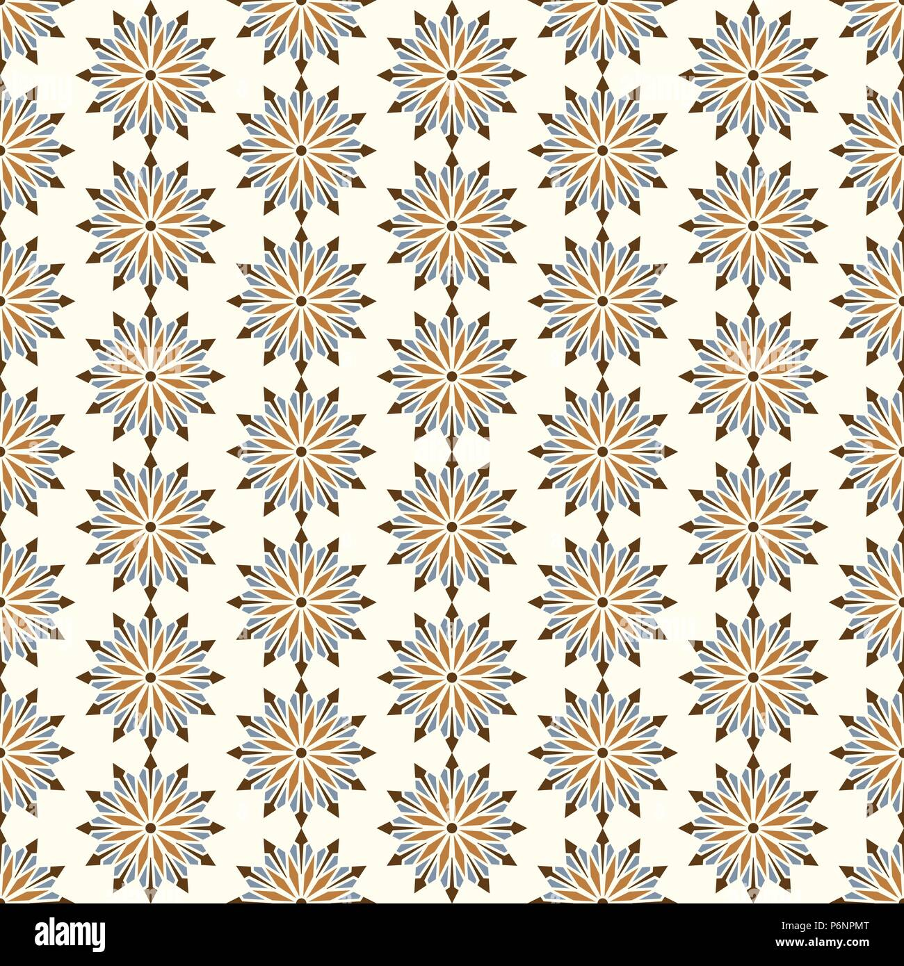 Brown modern flower and arrow and rhomboid shape seamless pattern. Graphic bloom pattern for fashionable or classic design - Stock Vector