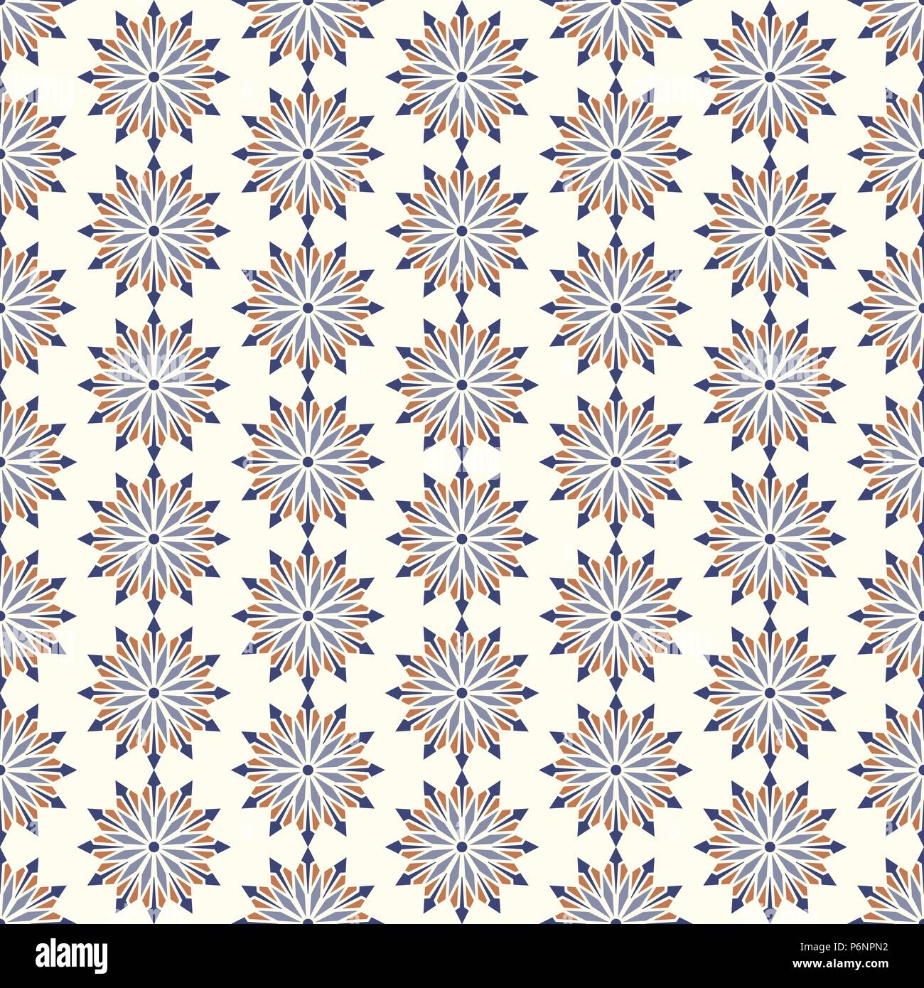 Dark blue modern flower and arrow and rhomboid shape seamless pattern. Graphic bloom pattern for fashionable or classic design - Stock Vector