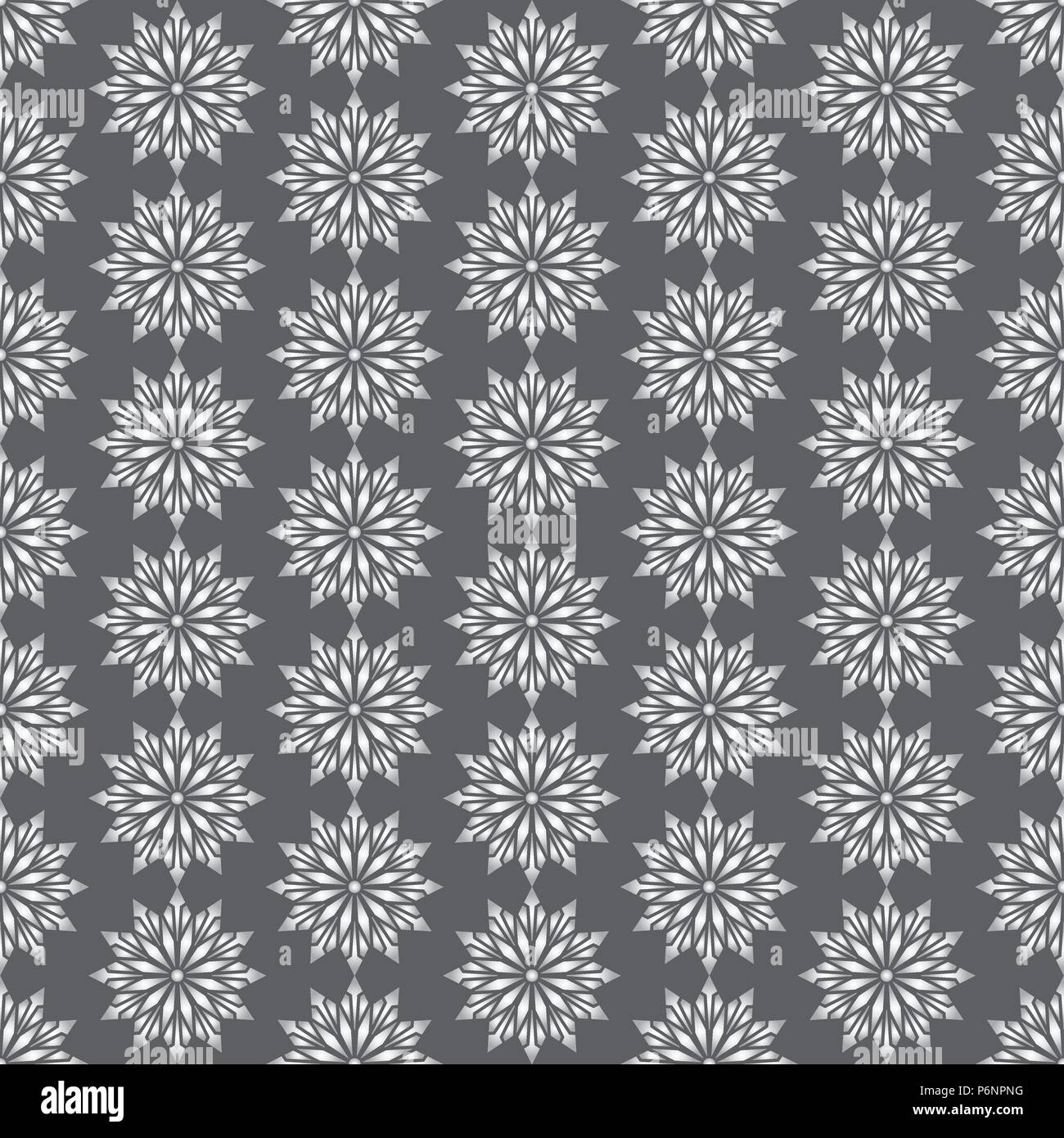 Silver modern flower and arrow and rhomboid shape seamless pattern. Graphic bloom pattern for fashionable or classic design - Stock Vector