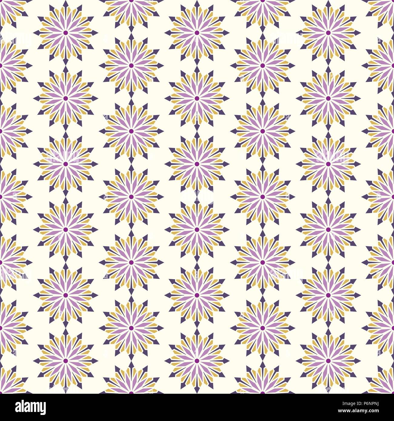 Purple modern flower and arrow and rhomboid shape seamless pattern. Graphic bloom pattern for fashionable or classic design - Stock Vector
