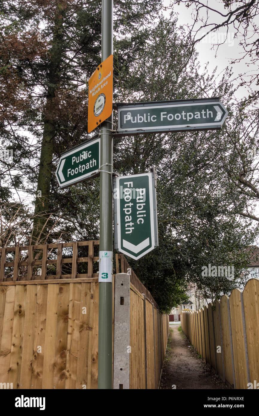 Vandalised public Footpath sign, UK - Stock Image