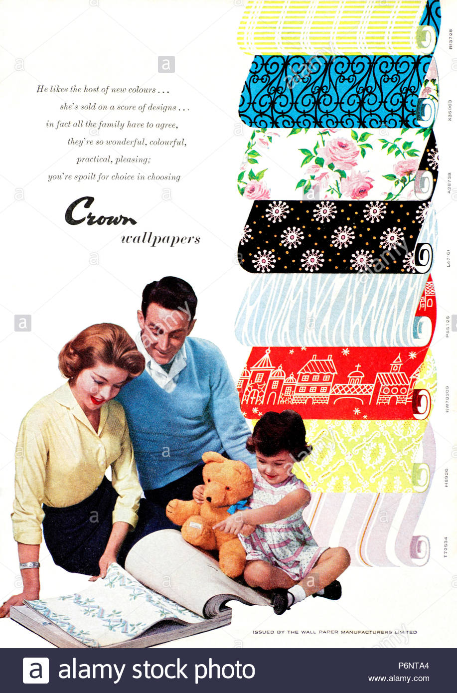 Vintage advertising for Crown Wallpaper 1950s - Stock Image