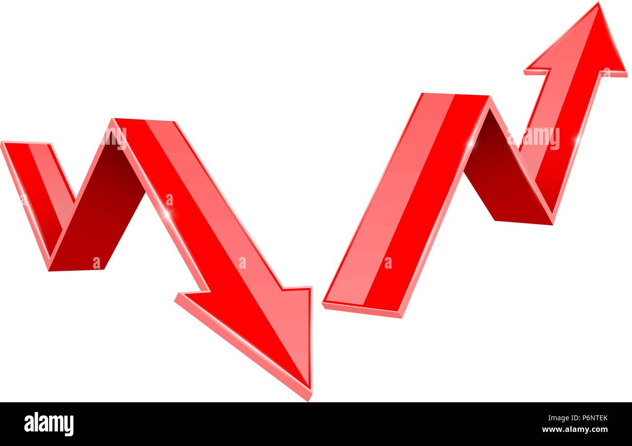 Red indication arrows. Up and Down 3d signs, statistic financial graphic - Stock Image
