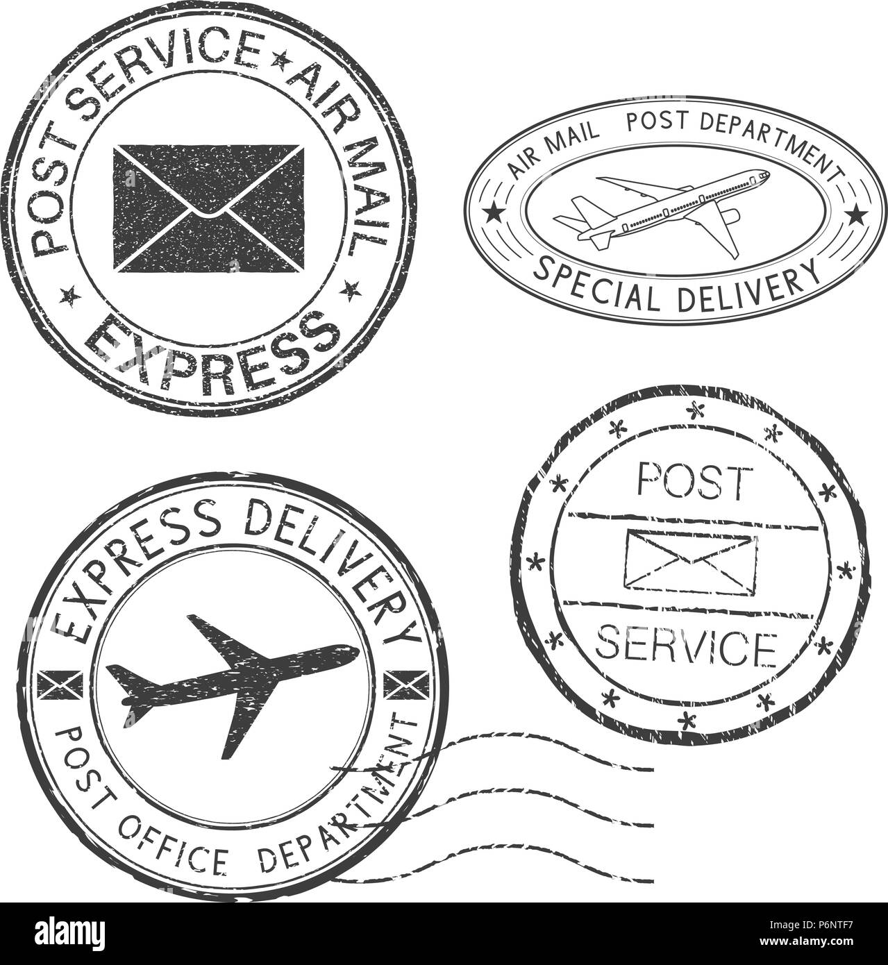 Postmarks. Black ink round postal stamps - Stock Image