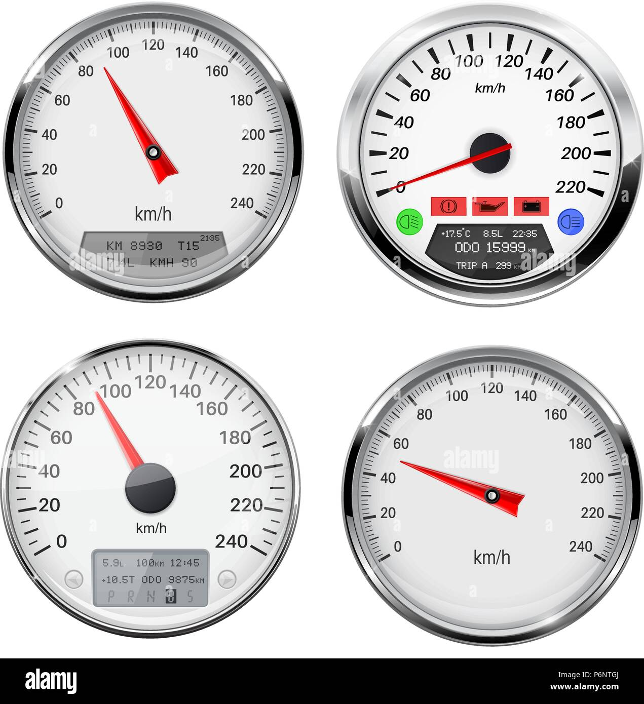 Speedometers And Tachometers Car Dashboard Gauges With Chrome Frame