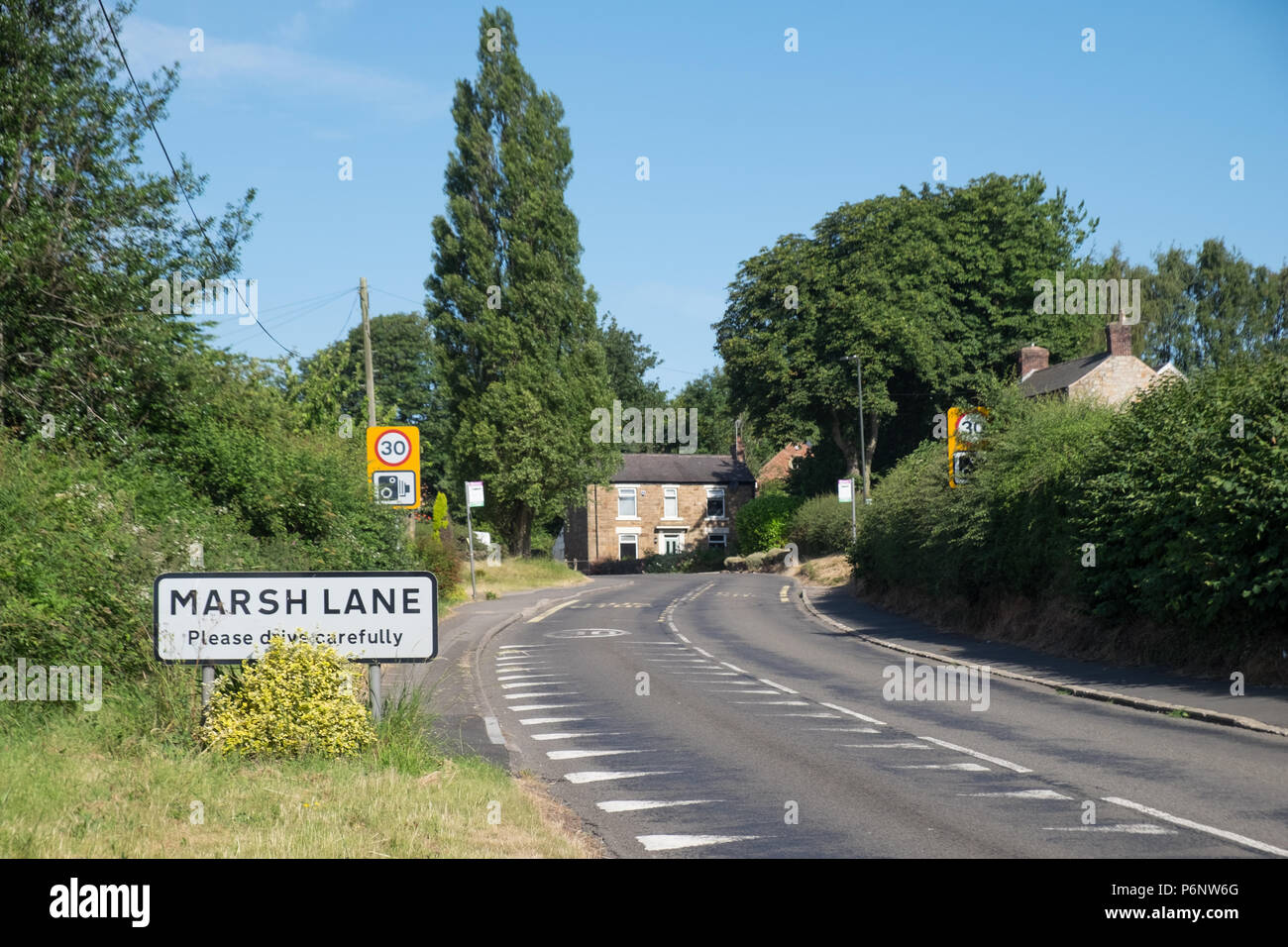 Marsh Lane, Derbyshire. July 2nd 2018. Ineos have applied to drill a test well to explore shale gas reserves with a view to fracking extraction. - Stock Image
