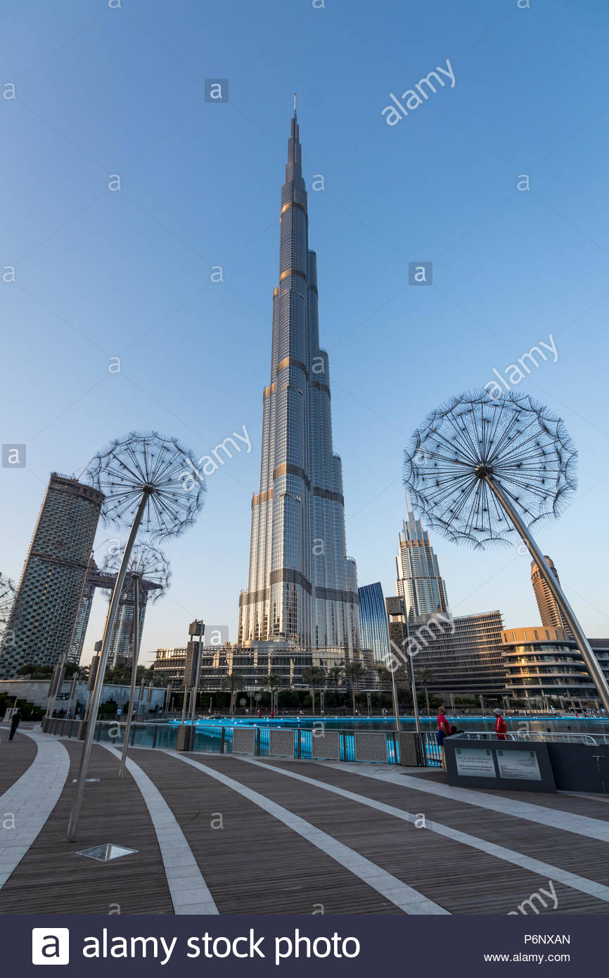 A view of Burj Khalifa at Downtown Dubai Stock Photo