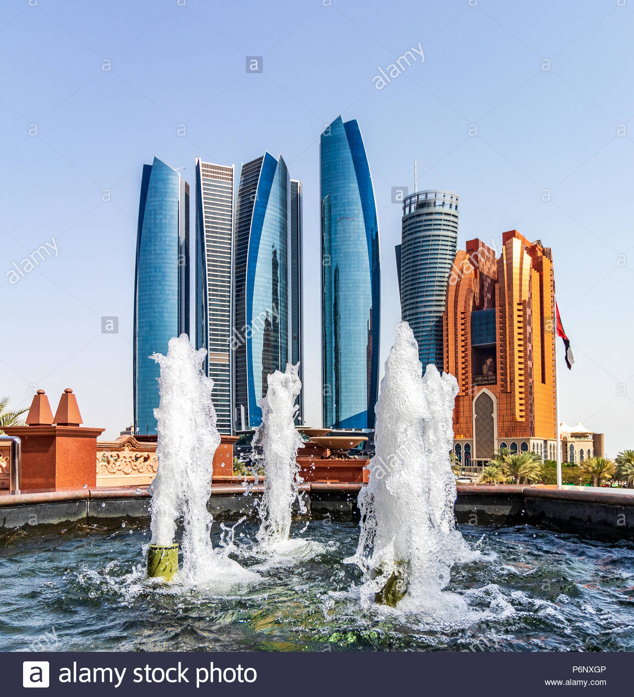 View of the Abu Dhabi Skyline and Etihad Towers. - Stock Image