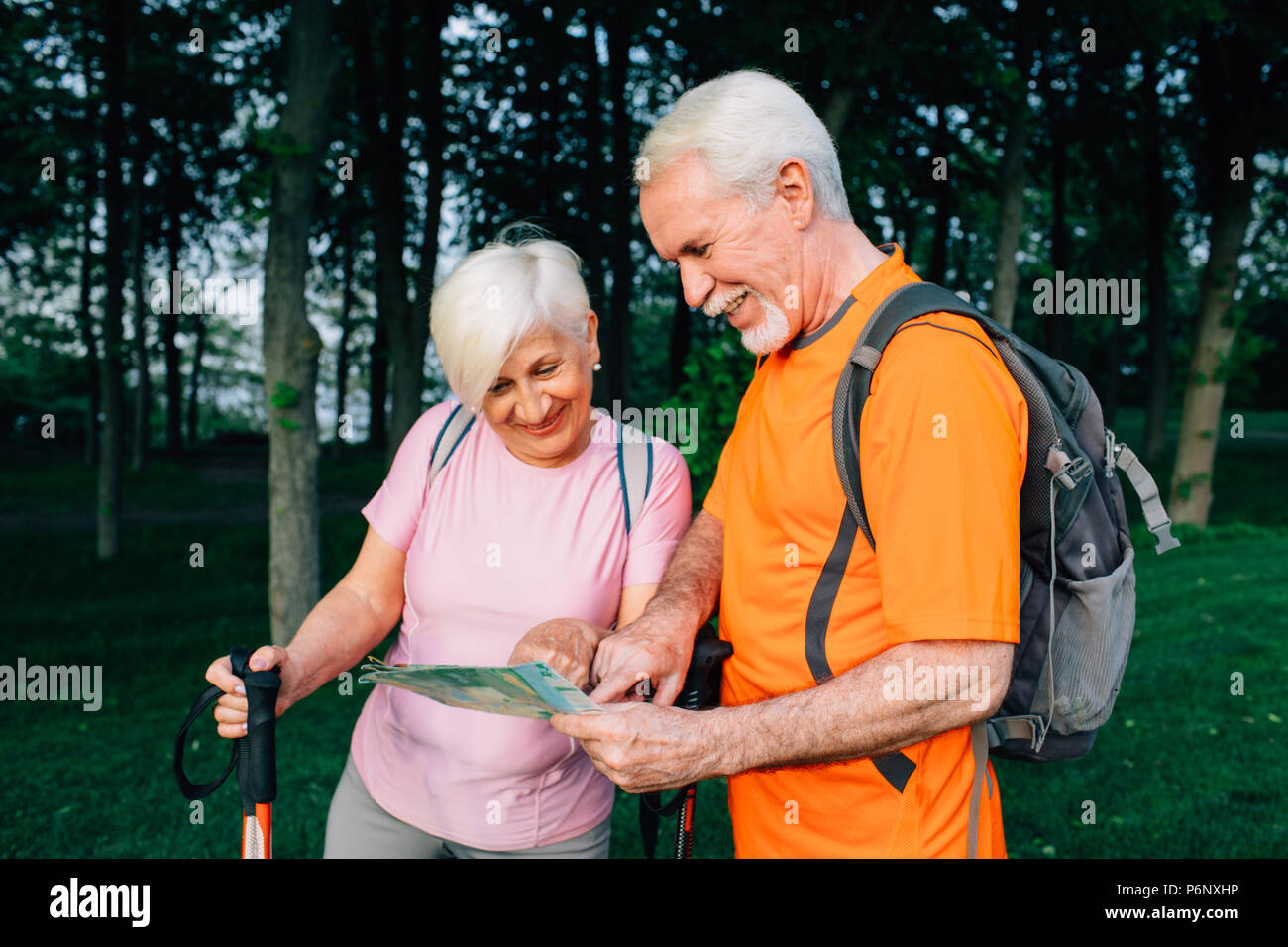 elderly couple hikers checking map in woods - Stock Image