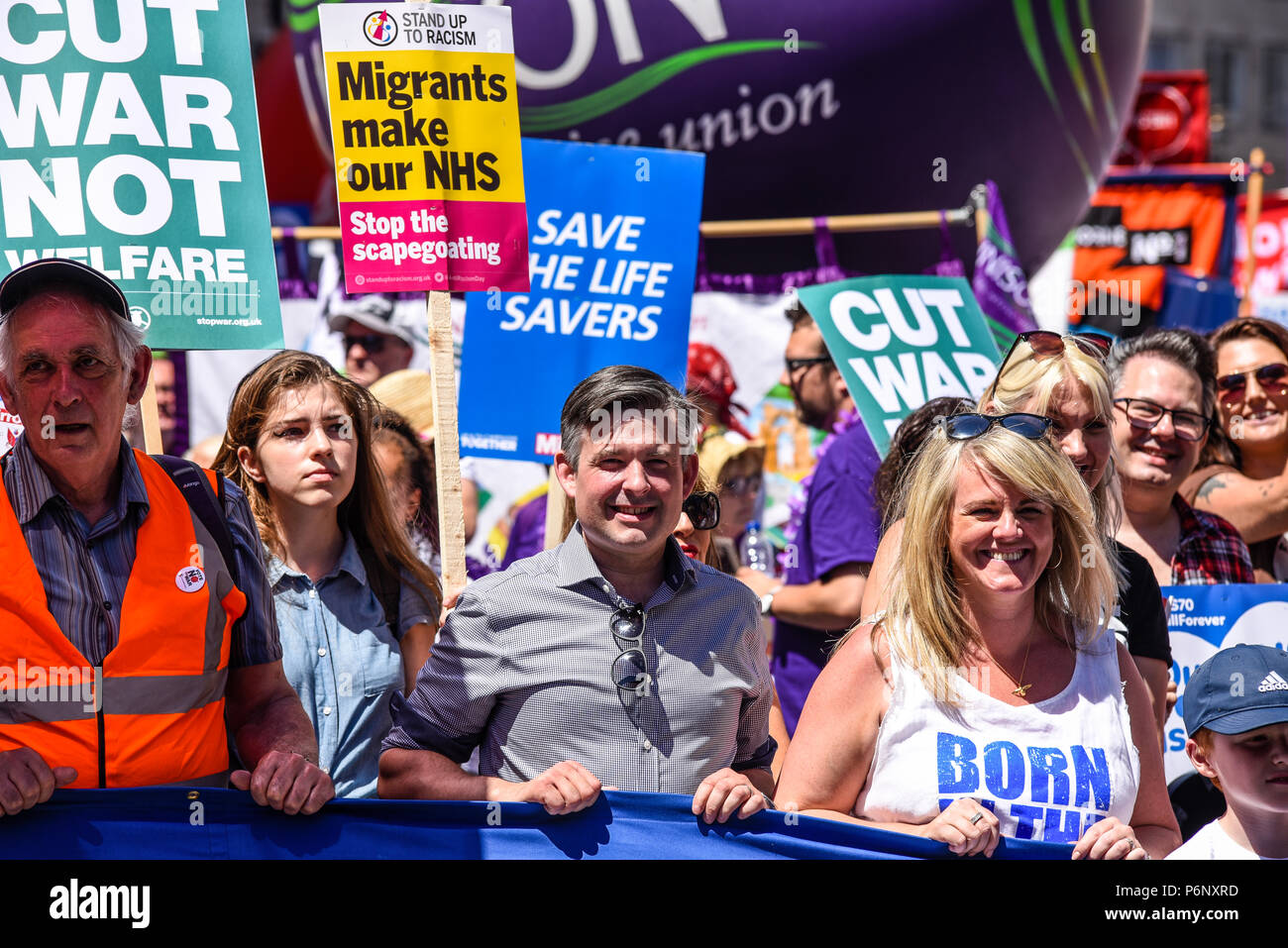 Jonathan Ashworth MP at the 70th anniversary of the National Health Service march demonstration in London, UK. NHS70 - Stock Image