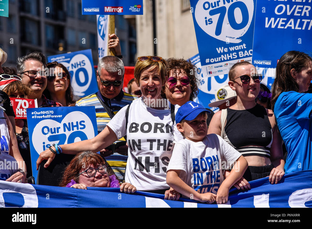 Actor, actress Julie Hesmondhalgh at the 70th anniversary of the National Health Service march demonstration in London, UK. NHS70 - Stock Image