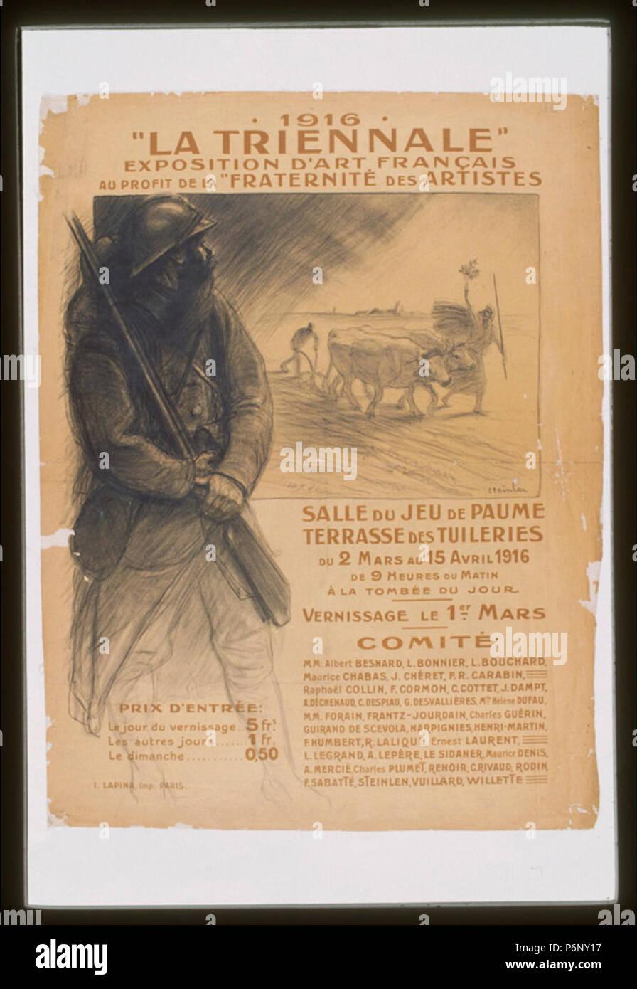 1916. 'La Triennale.' Exposition d'art français au profit de la 'Fraternité des Artistes' - Stock Image