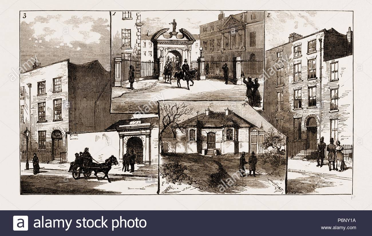 THE MURDER LEAGUE IN DUBLIN, IRELAND, 1883: 1. Corkhill, Where the House Was Taken from which to Assassinate Lord Spencer as He Left the Castle. 2. No. 19A, Denzille Street, the Residence of James Carey. 3. No. 10, Peter Street, One of the Meeting-places of the Murder League. 4. Rosemount Cottage, Kilmainham, Where the Witnesses are Lodged Under Police Protection. - Stock Image