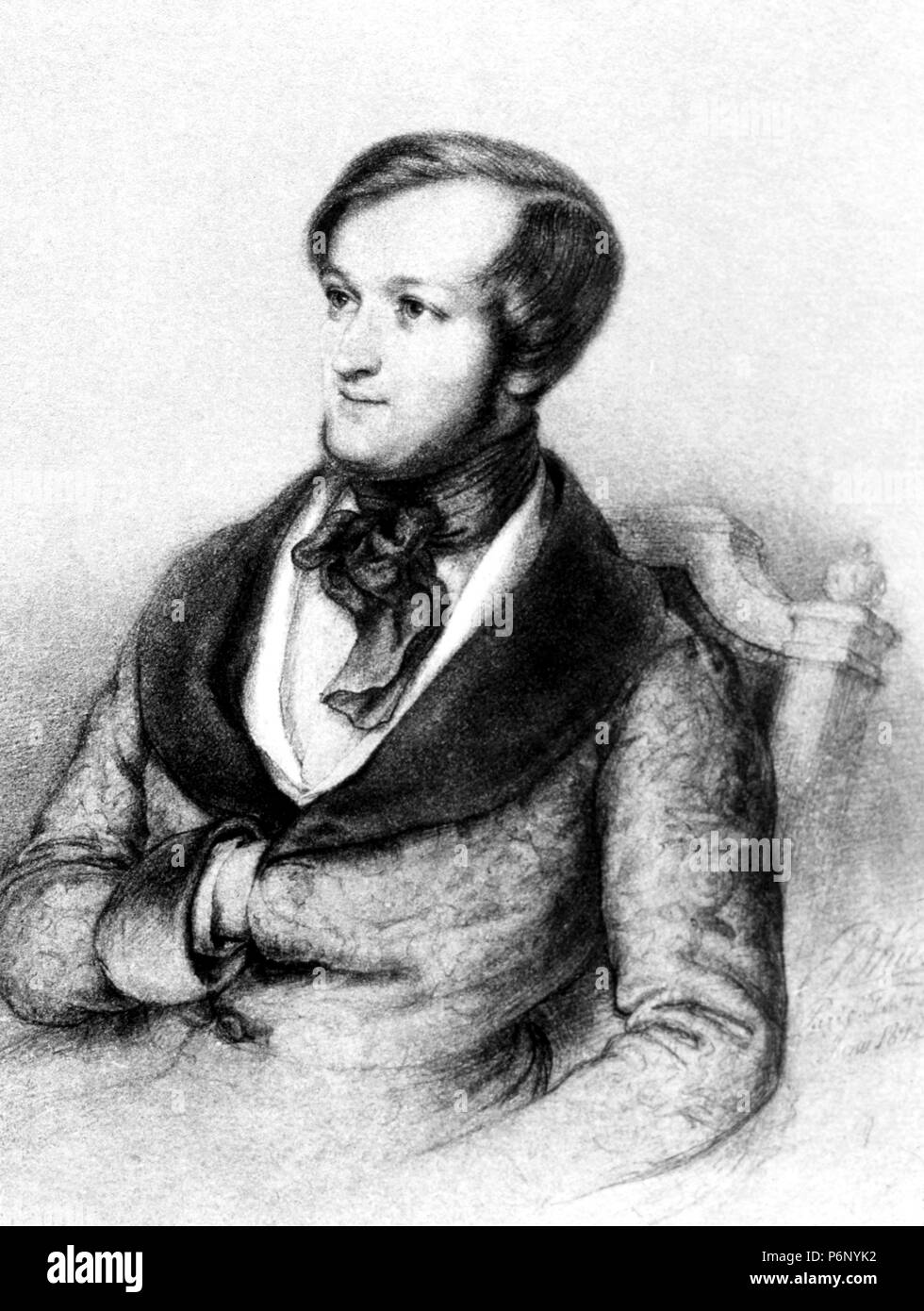 Richard Wagner in 1842 (from a portrait by E. Kietz). - Stock Image