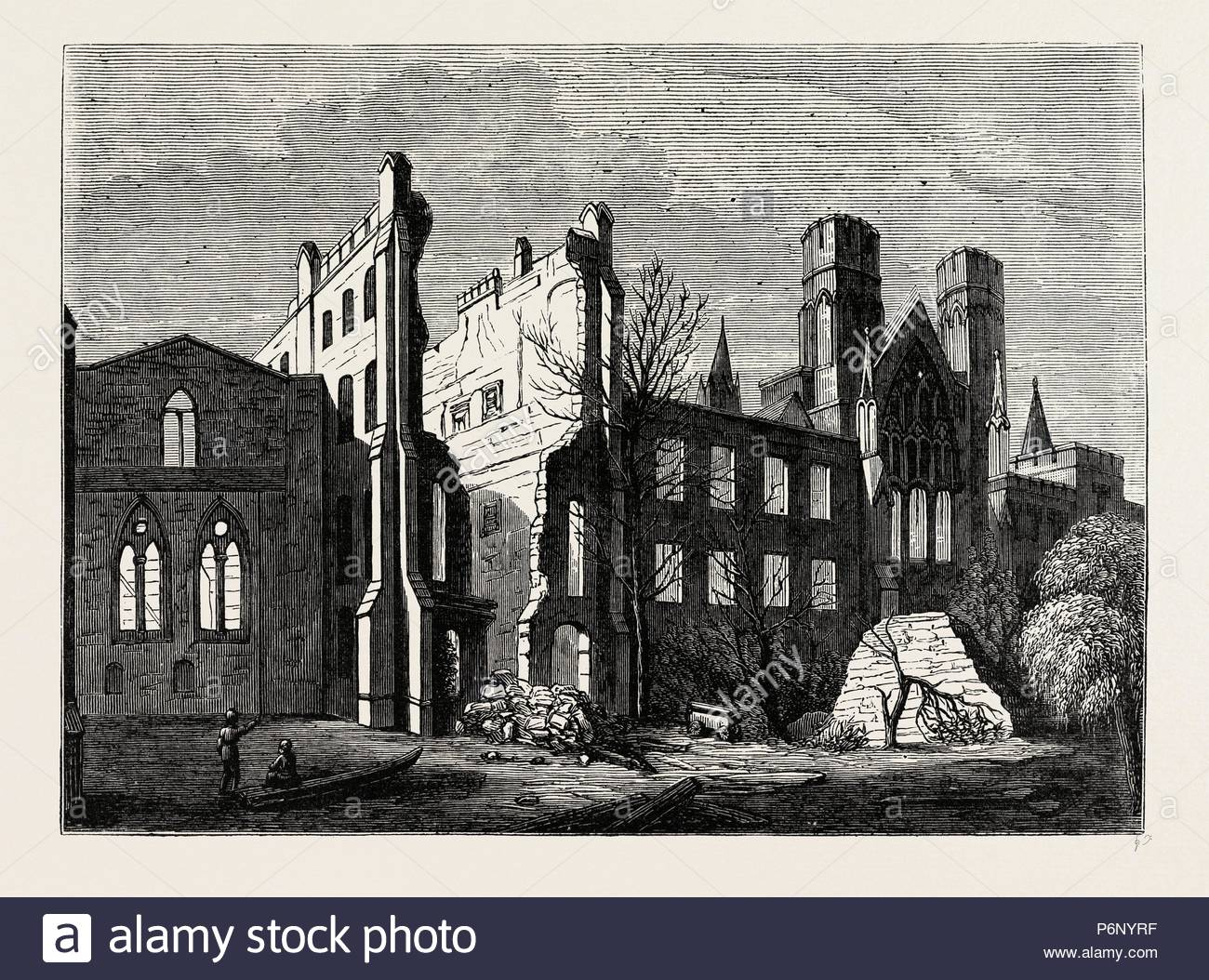 THE HOUSES OF PARLIAMENT AFTER THE FIRE, IN 1834. London, UK, 19th century engraving. - Stock Image